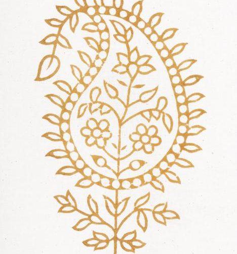 Madeleine - paisley i varm guld gul ton