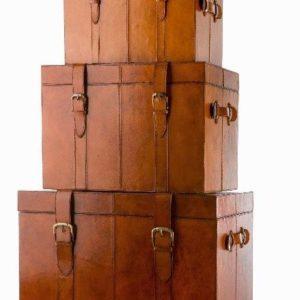 Set Av Oxford Trunk – Vacker Förvaring I Läder