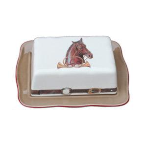 Servera Smör Med Stil I Vacker Porslinsask Med Hästmotiv